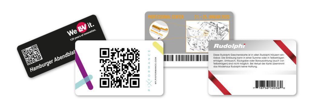 Karten mit Barcode/QR Code