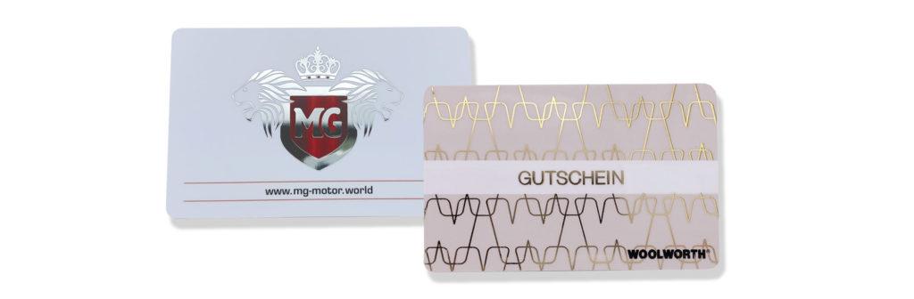 Plastikkarten mit Hotstamp / Heißprägung